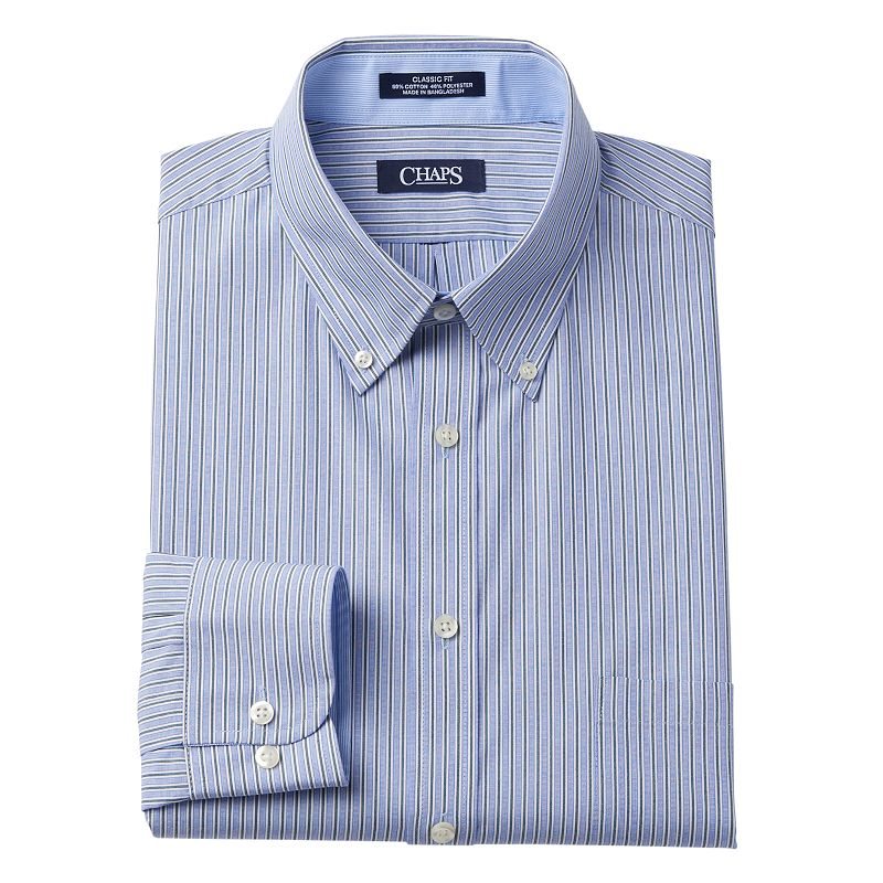 Chaps classic fit striped wrinkle free button down collar Best wrinkle free dress shirts