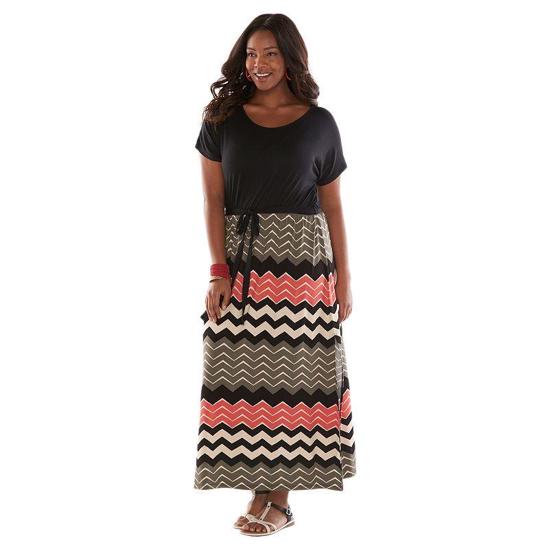 Plus Size Plus Size Design 365 Chevron Dolman Maxi Dress, Black