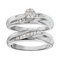 Always Yours Sterling Silver 1/5 Carat T.W. Diamond Halo Engagement Ring Set