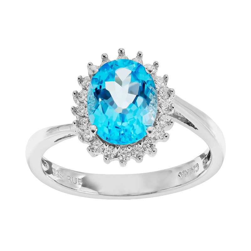 Sparkle Gem Blue Topaz & Cubic Zirconia Sterling Silver Oval Halo Ring