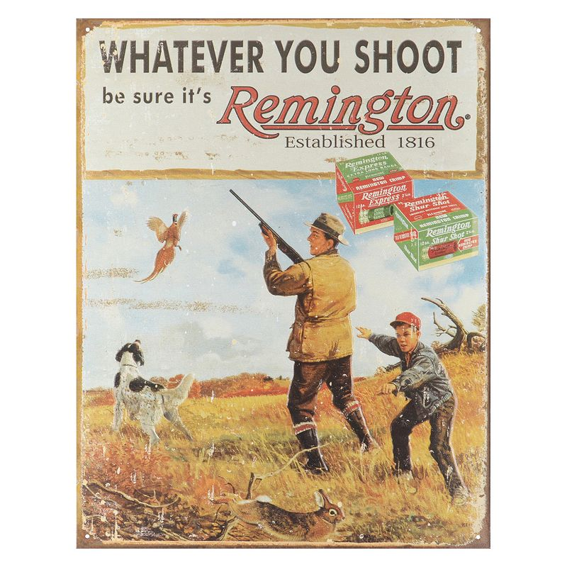 Remington Whatever You Shoot Vintage Metal Wall Decor