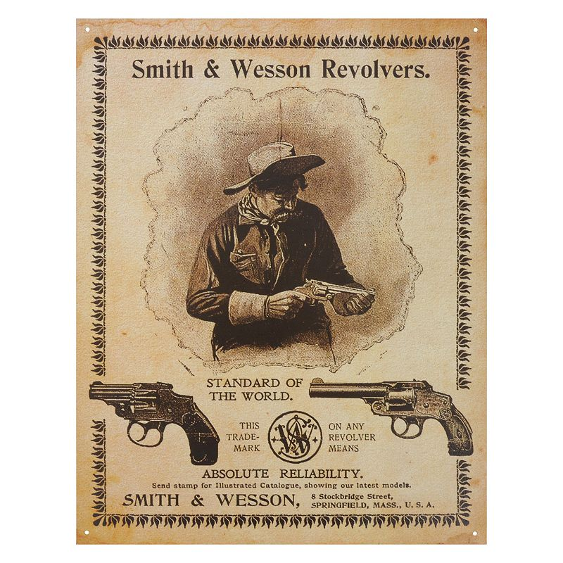 Smith and Wesson Vintage Metal Wall Decor