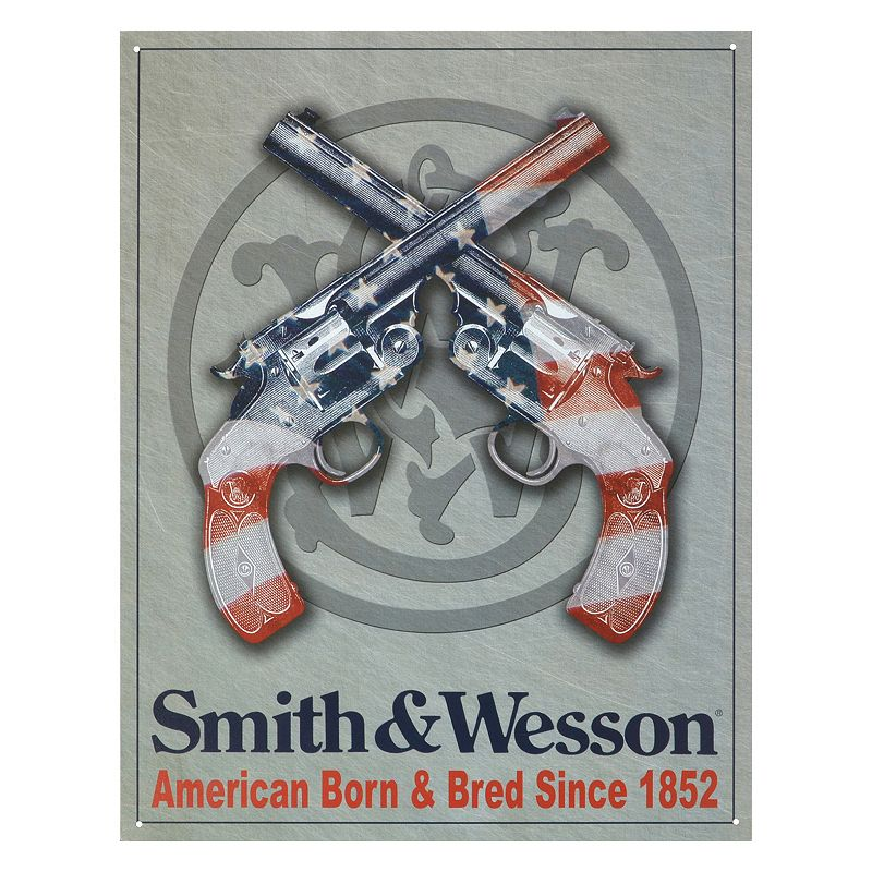 Smith and Wesson American Born Vintage Metal Wall Decor