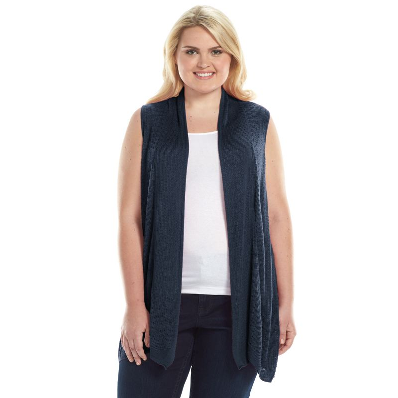 Plus Size Croft & Barrow Tuck-Stitch Open-Front Sweater Vest ...