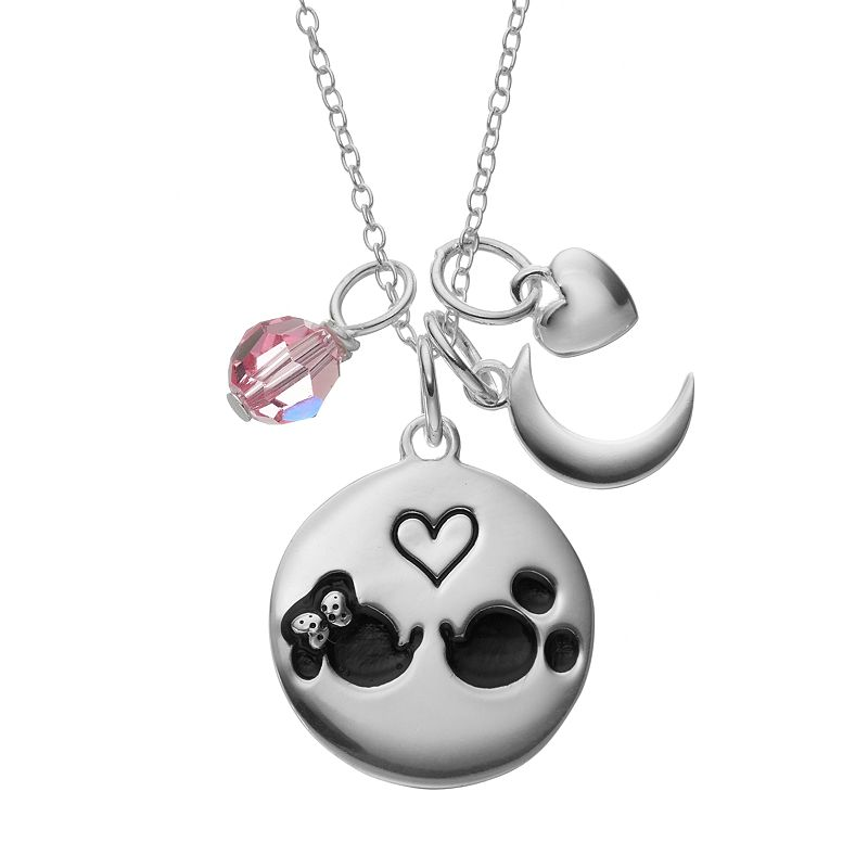 Disney's Minnie & Mickey Mouse Sterling Silver Charm Pendant Necklace - Made with Swarovski Crystals