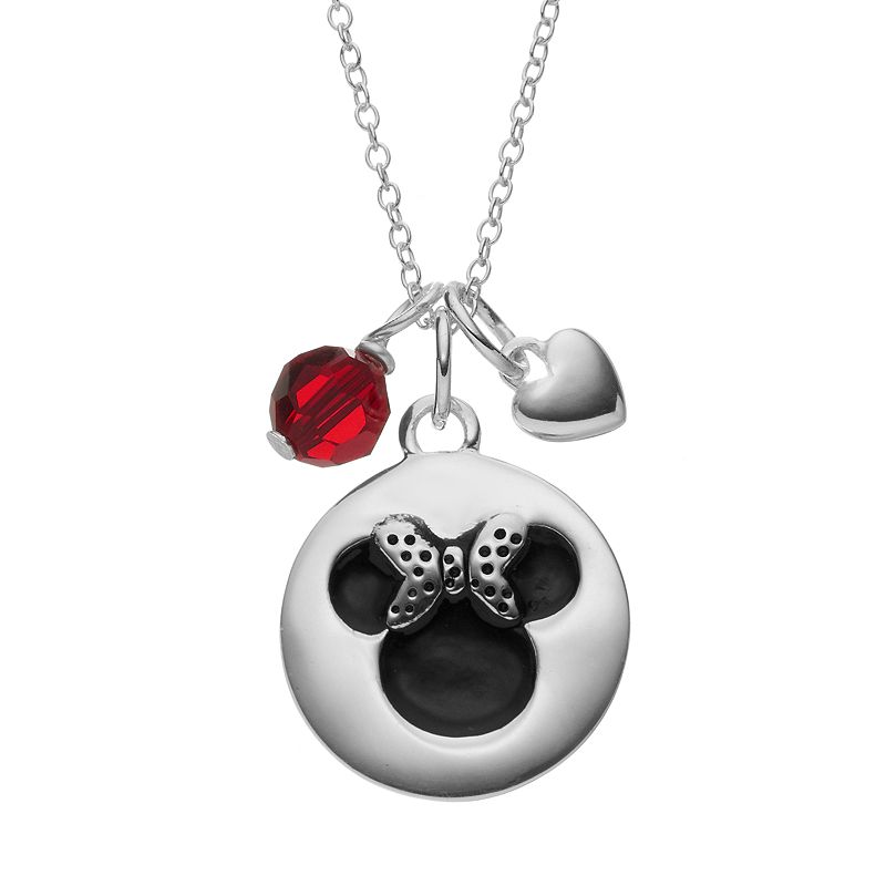Disney's Minnie Mouse Sterling Silver Charm Pendant Necklace - Made with Swarovski Elements