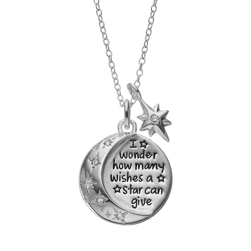 Disney's Winnie the Pooh Cubic Zirconia Sterling Silver Moon & Star Pendant Necklace