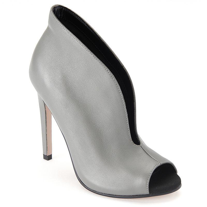 ShoeMint Bell Women's Leather Peep-Toe High Heel Ankle Boots