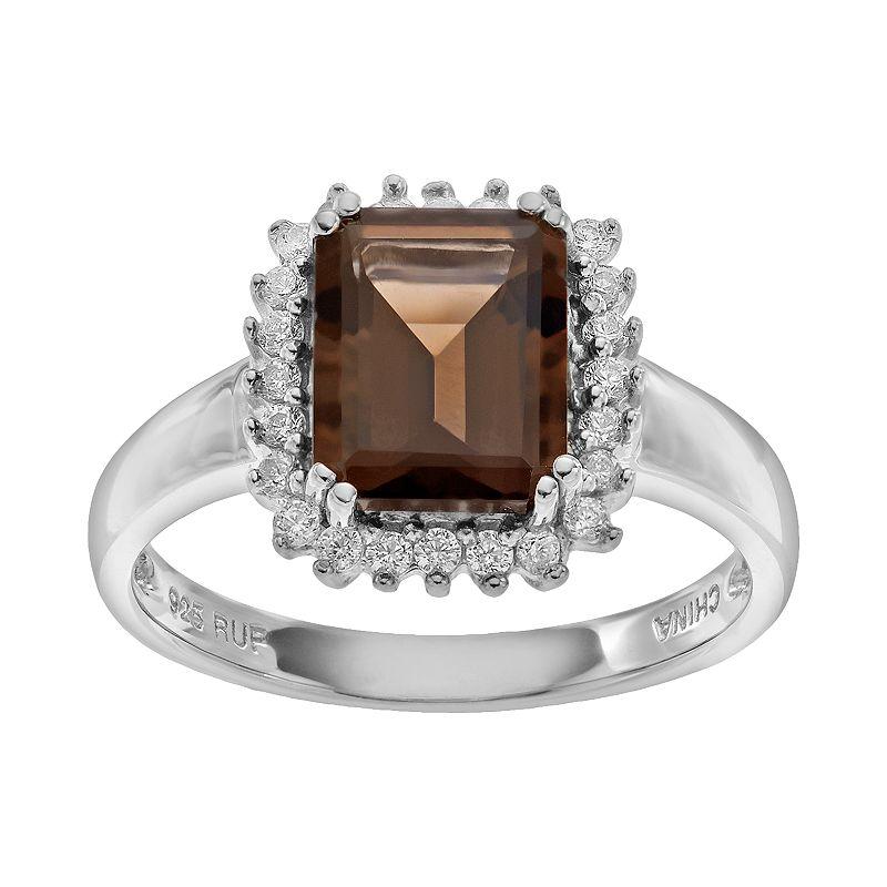 Sparkle Gem Smoky Quartz & Cubic Zirconia Sterling Silver Rectangle Halo Ring