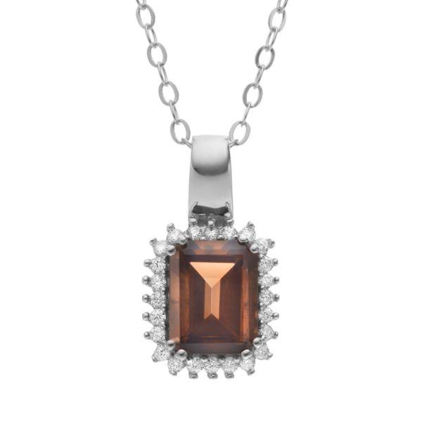 Sparkle Gem Smoky Quartz & Cubic Zirconia Sterling Silver Rectangle Pendant Necklace
