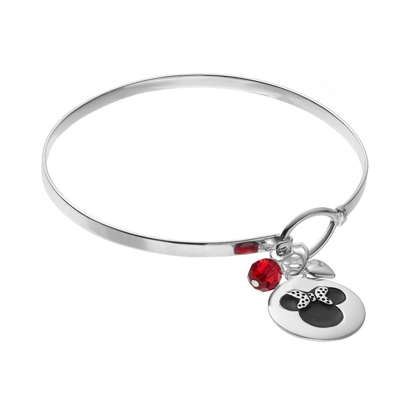 Disney's Minnie Mouse Sterling Silver Charm Bangle Bracelet - Made with Swarovski Elements