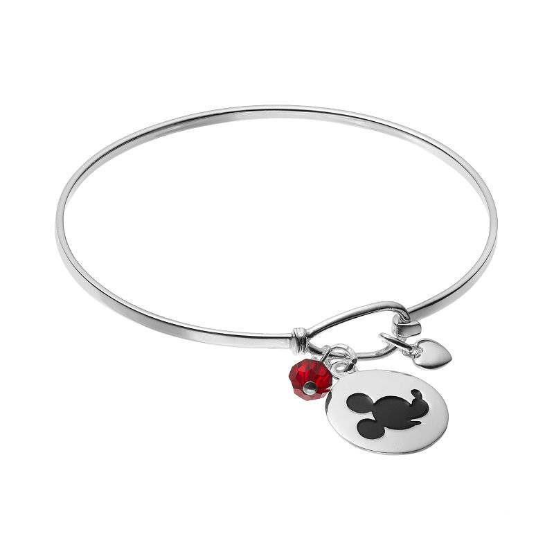 Disney's Mickey Mouse Sterling Silver Charm Bangle Bracelet - Made with Swarovski Crystals