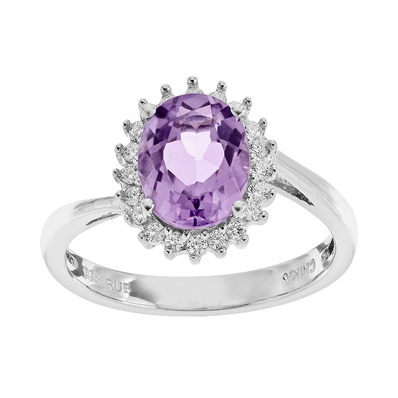 Sparkle Gem Amethyst & Cubic Zirconia Sterling Silver Oval Halo Ring