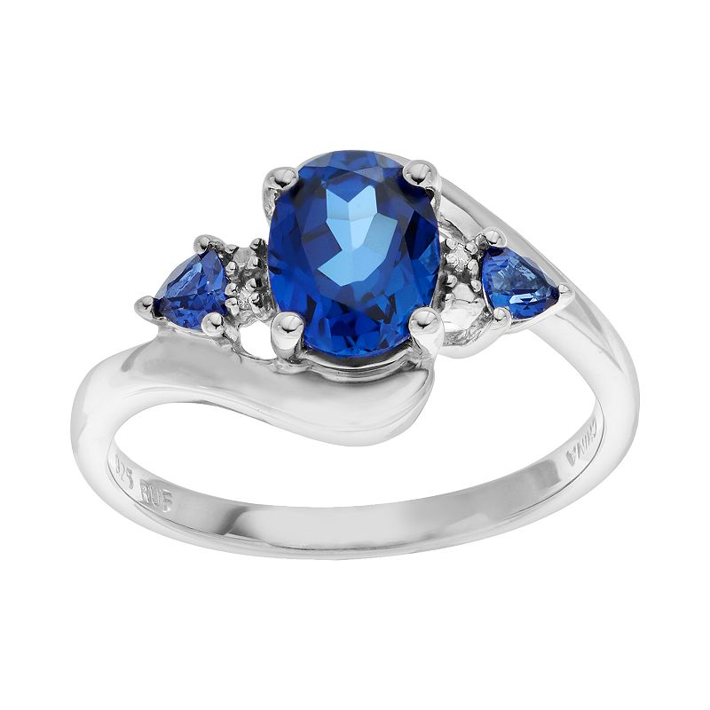 Sparkle Gem Lab-Created Sapphire & Diamond Accent Sterling Silver Ring