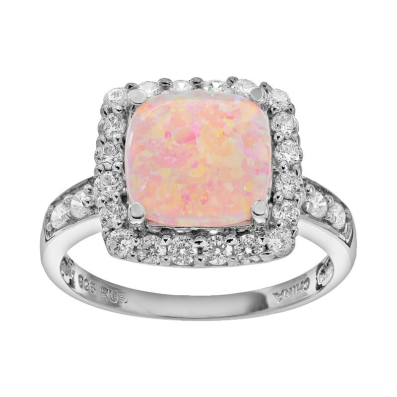 Sparkle Gem Simulated Opal & Cubic Zirconia Sterling Silver Square Halo Ring
