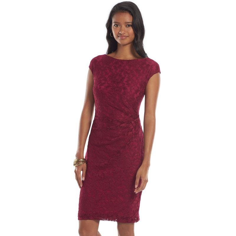 Wonderful Chaps Solid Ruched Sheath Dress  Women39s