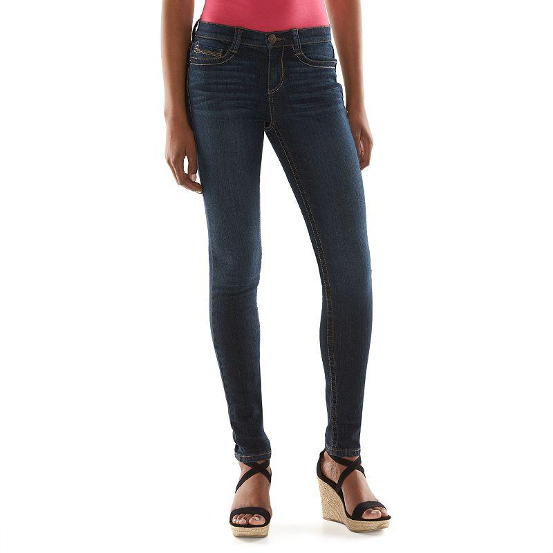 Juniors' Mudd® Heavy Stitch Skinny Jeans, Kids Unisex, Size: 13 Short, Dark Blue