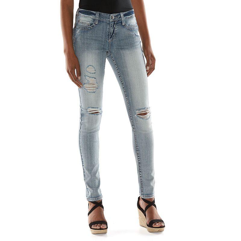 Mudd Heavy Stitch Skinny Jeans - Juniors, Size: 29 (Blue)