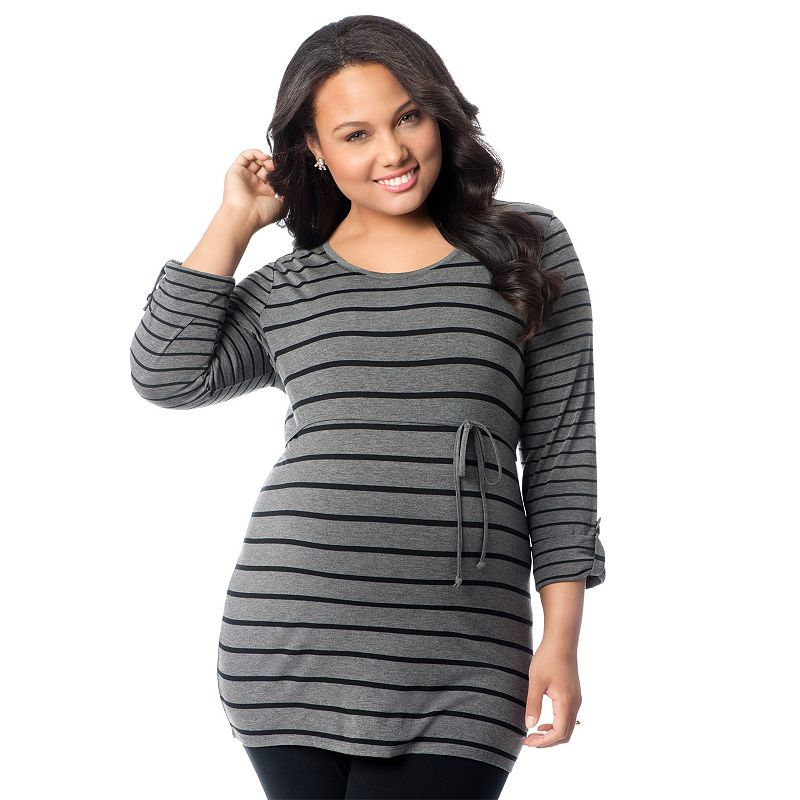 Plus Size Maternity Oh Baby by Motherhood™ Striped Roll-Tab Tunic