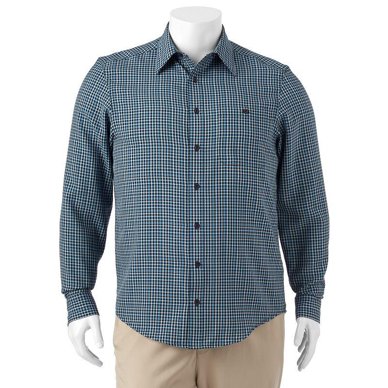 Big & Tall Haggar Checked Microfiber Button-Down Shirt