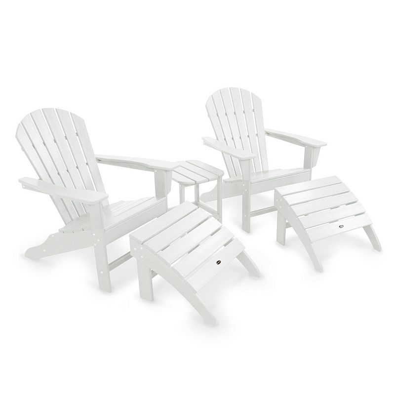 POLYWOOD® 5-piece South Beach Adirondack Outdoor Chair, Ottoman & Side Table Set
