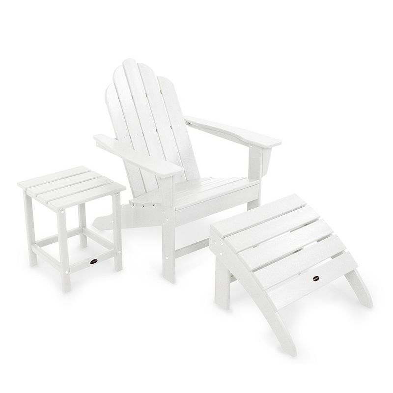 POLYWOOD® 3-piece Long Island Adirondack Outdoor Chair, Ottoman & Side Table Set