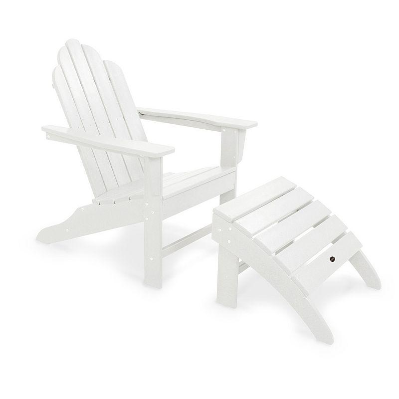 POLYWOOD® 2-piece Long Island Adirondack Outdoor Chair & Ottoman Set