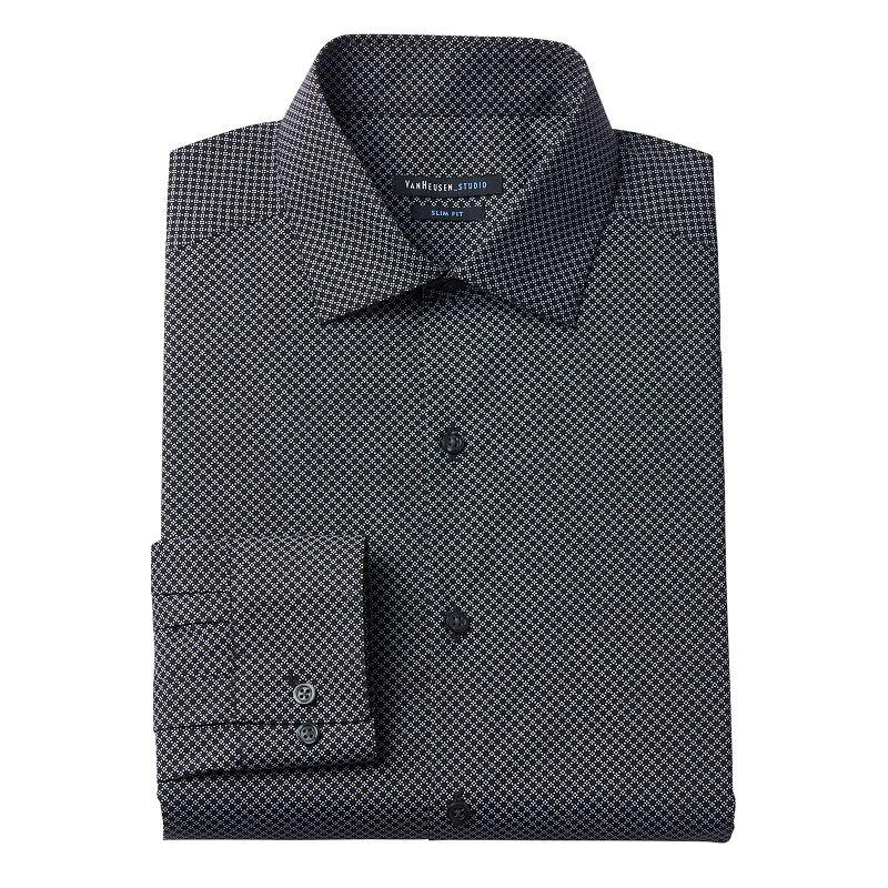 Men's Van Heusen Studio Slim-Fit Patterned Wrinkle-Free Spread-Collar Dress Shirt