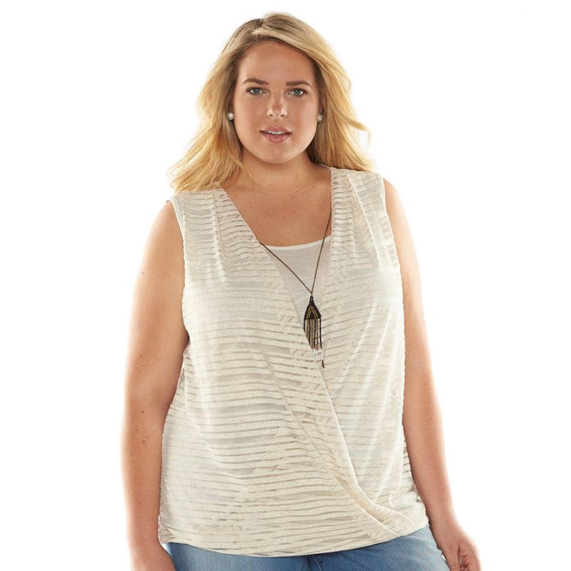 Plus Size AB Studio Crossover Mock-Layer Necklace Top