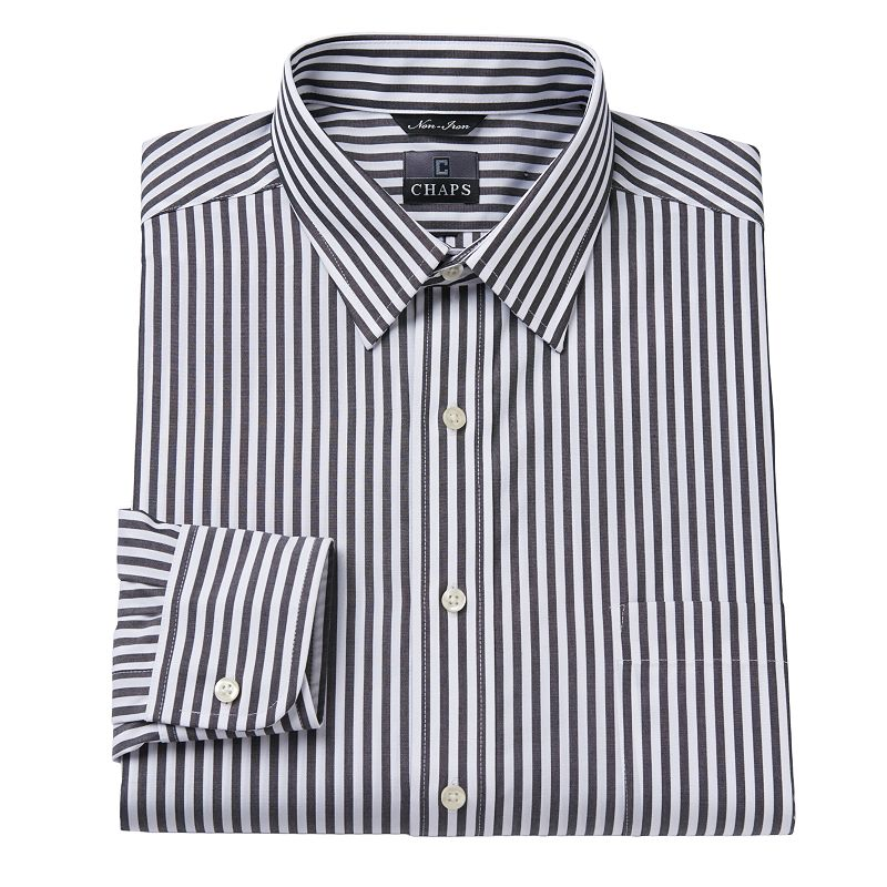 Chaps classic fit striped no iron point collar dress shirt for Mens no iron dress shirts