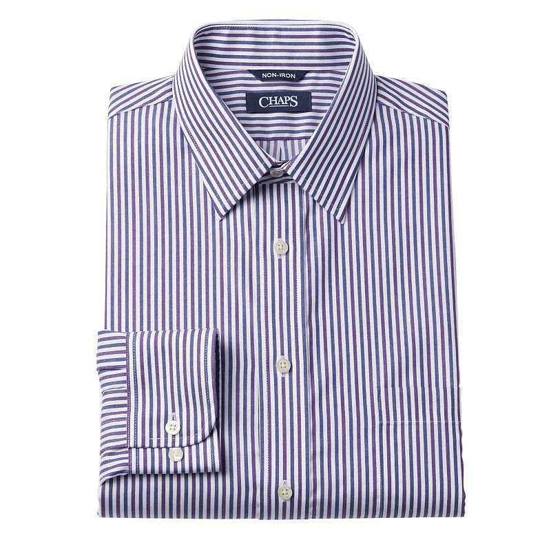 Chaps classic fit thick striped no iron point collar dress Mens no iron dress shirts