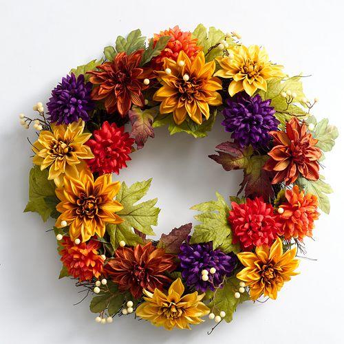 SONOMA life + style® Dahlia Mum Berry 22-in. Spiral Vine Wreath