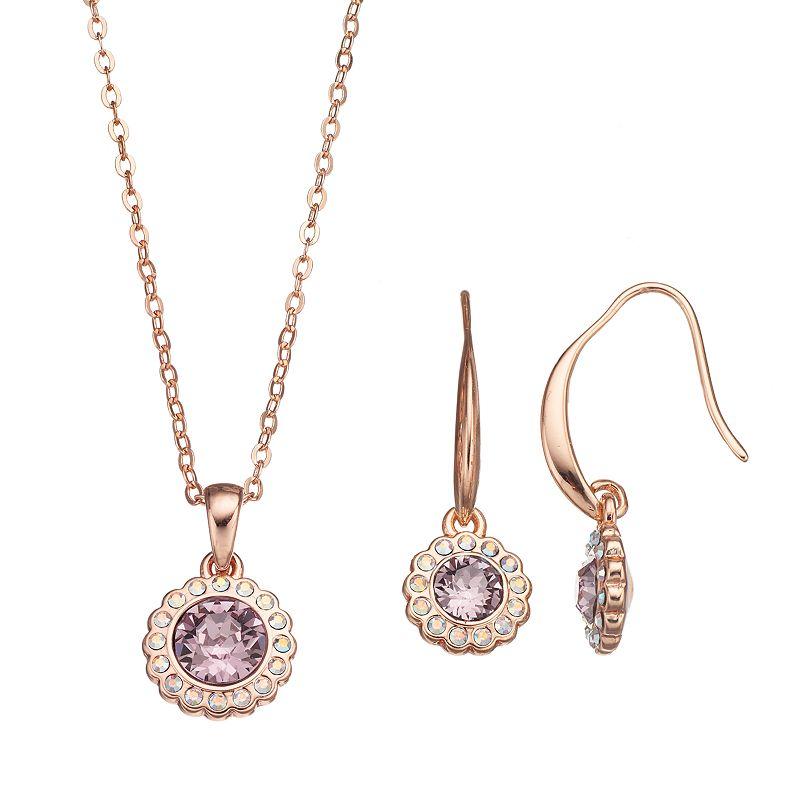 Crystal Brilliance 14k Rose Gold-Plated Pendant & Drop Earring Set