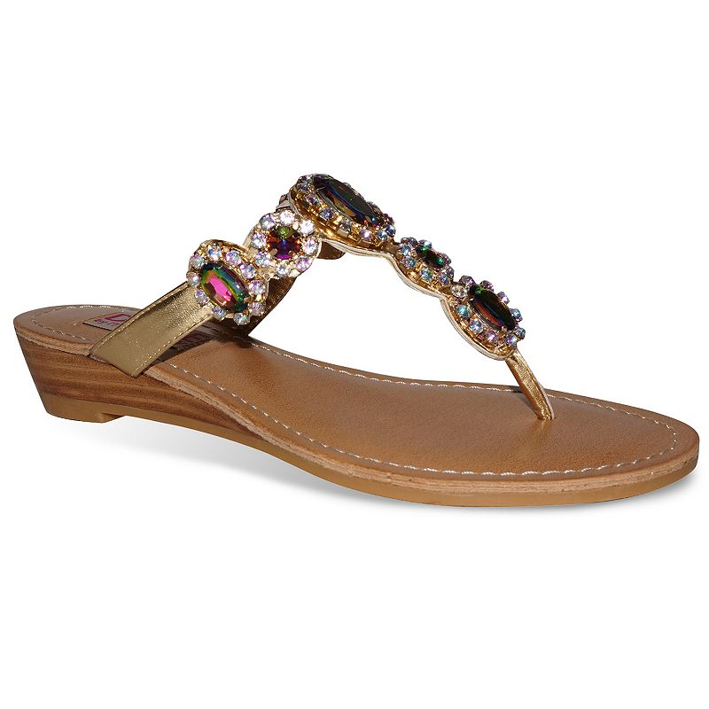 Dolce by Mojo Moxy Fairytale Women's Wedge Thong Sandals