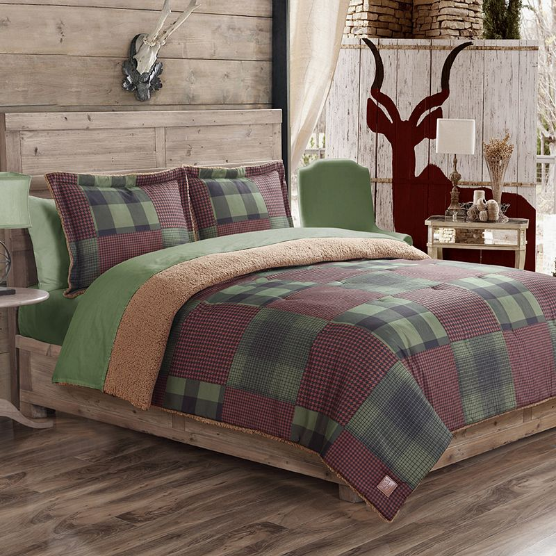 Field and Stream Houndstooth Sherpa Reversible Comforter Set