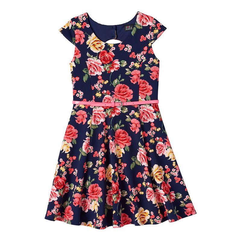 Girls 7-16 lilt Cutout-Back Skater Dress