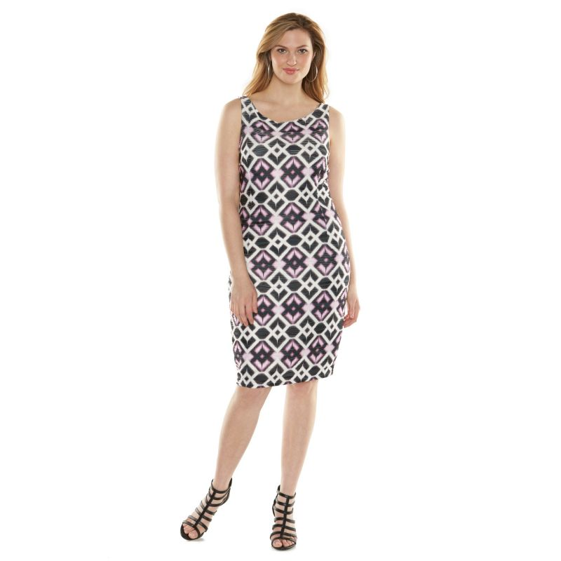 Plus Size Jennifer Lopez Ikat Textured Bodycon Dress, Women's, Size: 0X, Purple