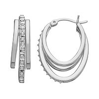 Diamond Mystique Platinum Over Silver Oval Hoop Earrings