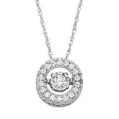 Dancing Love 1/4 Carat T.W. Diamond 10k White Gold Halo Pendant Necklace by