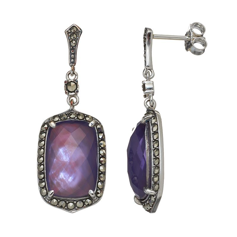 Lavish by TJM Purple Mother-of-Pearl Triplet Sterling Silver Halo Drop Earrings - Made with Swarovski Marcasite