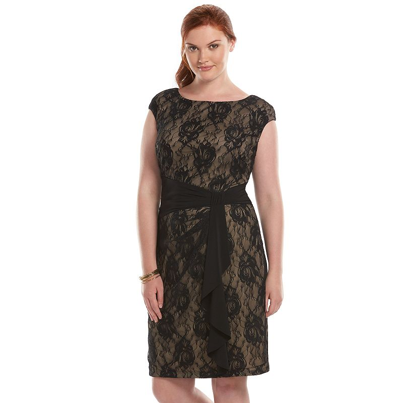 Plus Size Chaps Knot-Front Lace Sheath Dress