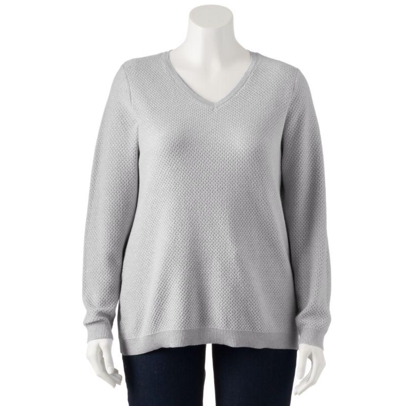 Plus Size Croft & Barrow Essential Cozy V-Neck Sweater, Women's, Size: 1X, Beige/Khaki