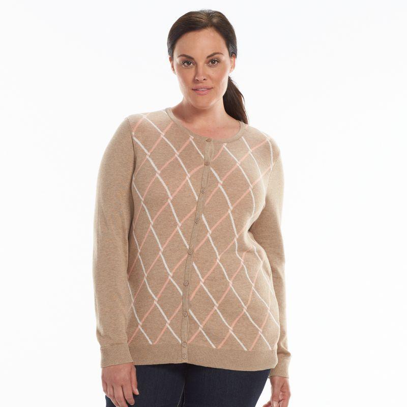 Plus Size Croft & Barrow Essential Cardigan, Women's, Size: 1X, Brown