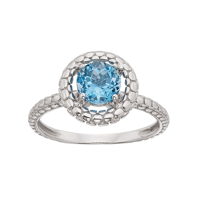 Swiss Blue Topaz 14k White Gold Halo Ring