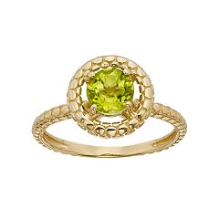 Peridot 14k Gold Halo Ring by