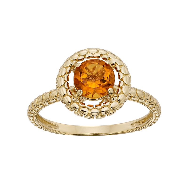 Citrine 14k Gold Halo Ring