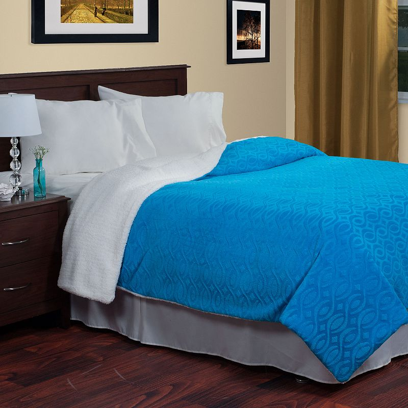 Portsmouth Home Etched Geometric Sherpa Blanket