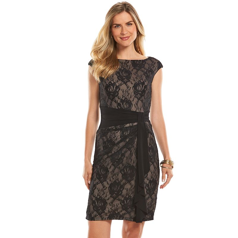 Petite Chaps Knot-Front Lace Sheath Dress