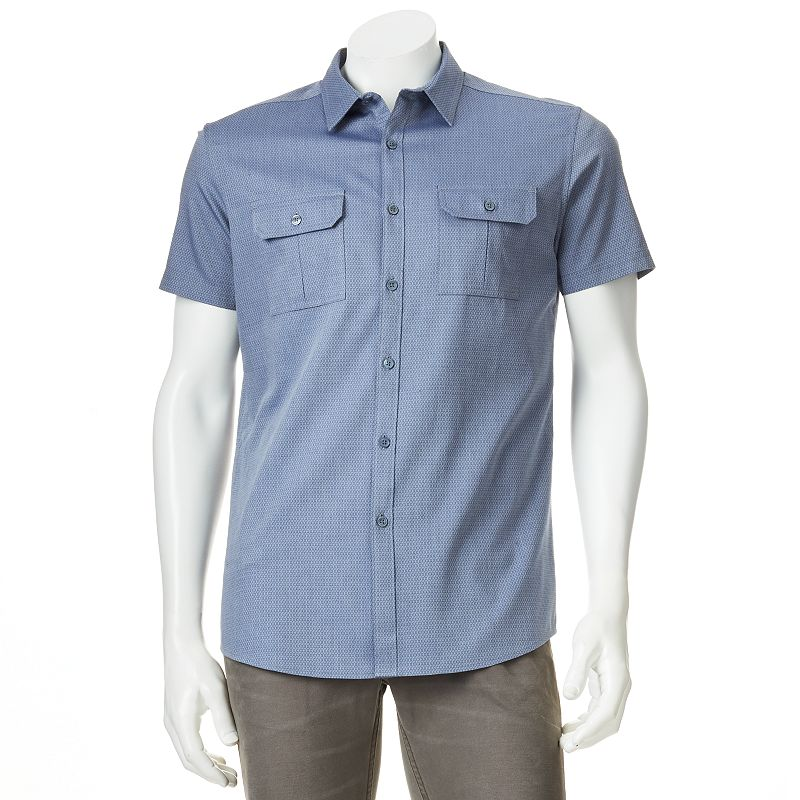 Men's Marc Anthony Slim-Fit Patterned 2-Pocket Casual Button-Down Shirt