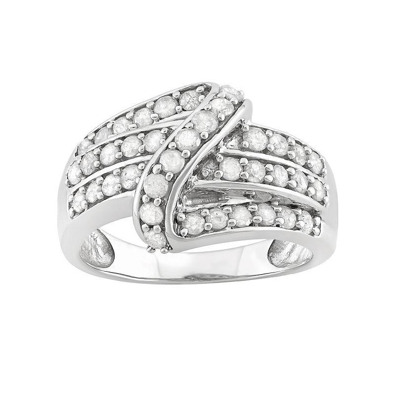 1 Carat T.W. Diamond Sterling Silver Swirl Ring